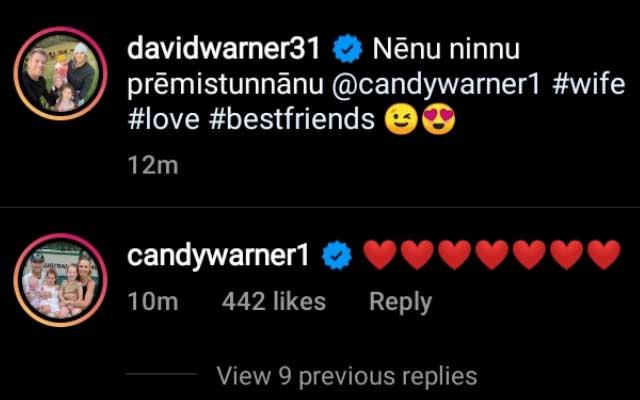 Candice Warner comment