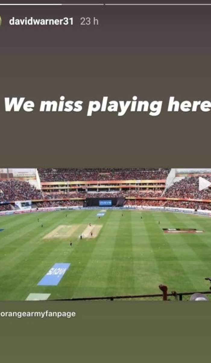 David Warner's Instagram story