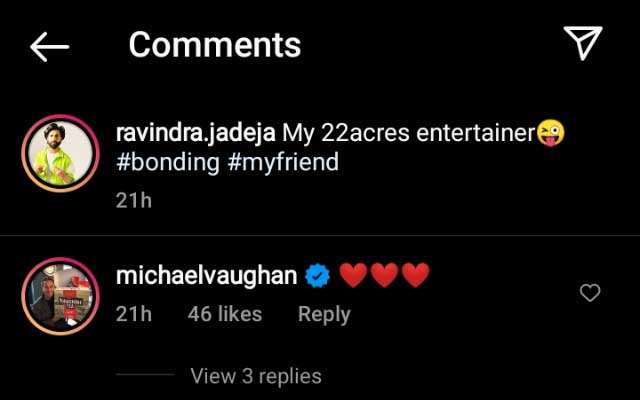 Michael Vaughan's comment on Ravindra Jadeja's post