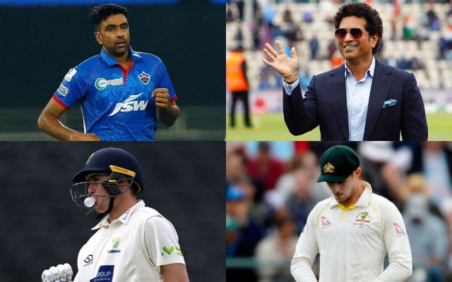 Ravichandran Ashwin, Sachin Tendulkar, Marnus Labuschagne, and Cameron Bancroft