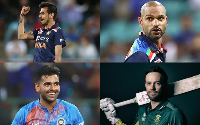 Yuzvendra Chahal, Shikhar Dhawan, Deepak Chahar, and AB de Villiers