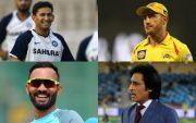 Ajit Agarkar, Faf du Plessis, Dinesh Karthik, and Ramiz Raja