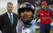 Chris Broad, Yuvraj Singh and Stuart Broad
