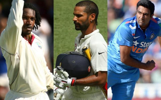 Chris Gayle, Racichandran Ashwin, and Shikhar Dhawan