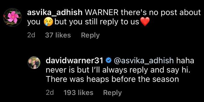 David Warner's reply