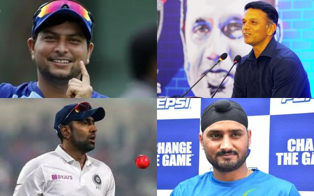 Kuldeep Yadav, Rahul Dravid, Ravichandran Ashwin, and Harbhajan Singh