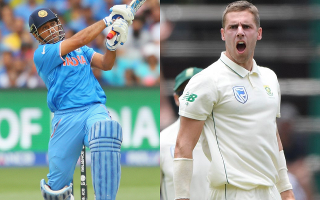 MS Dhoni and Anrich Nortje