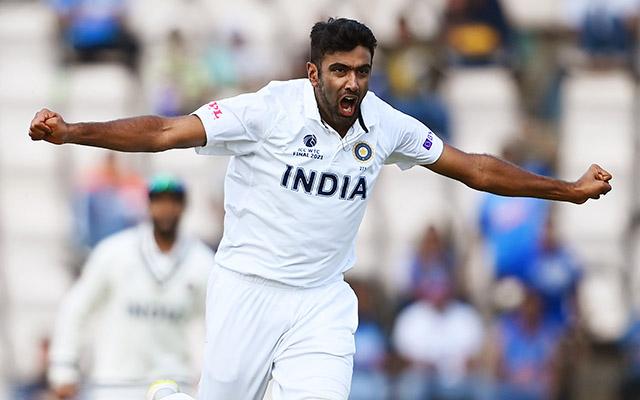 Ravichandran Ashwin of India celebrates the wicket