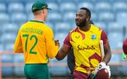 Van der Dussen congratulates Andre Russell for their victory