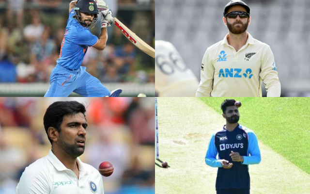 Virat Kohli, Kane Williamson, Ravichandran Ashwin, and Ravindra Jadeja