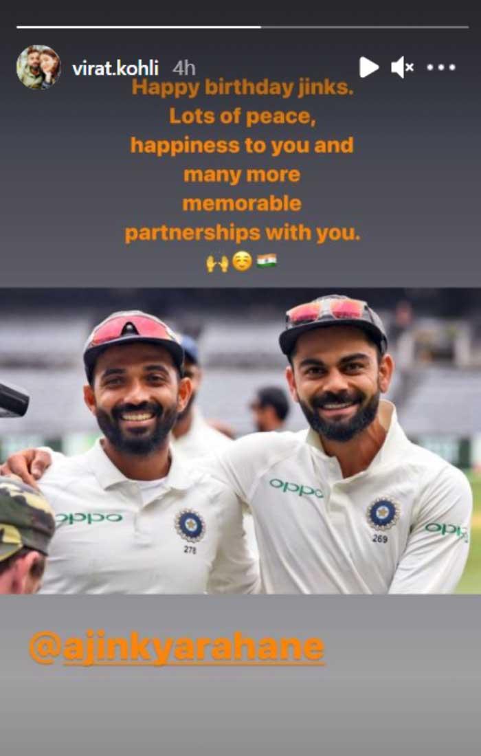 Virat Kohli's instagram story