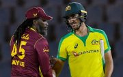 Chris Gayle and Mitchell Starc