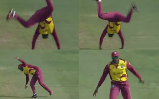 Chris Gayle celebrating the fall of a wicket