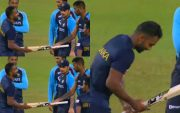Hardik Pandya giving Chamika Karunaratne a spare bat