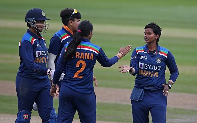 Deepti Sharma of India celebrates with her teammates