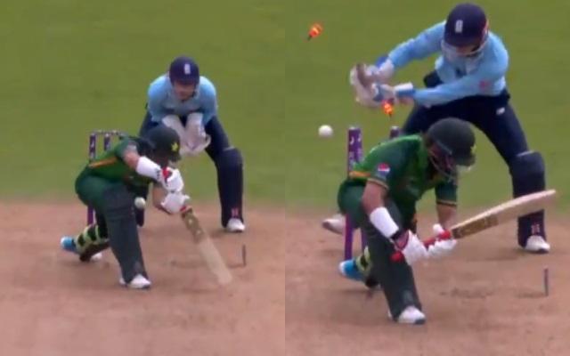 Matt Parkinson gets the wicket of Imam-ul-Haq