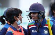 Mithali Raj of India bats celebrates after hitting the winning runs