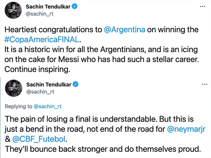Sachin Tendulkar's tweets