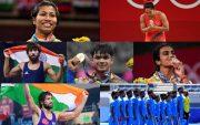 Neeraj Chopra, Mirabai Chanu, Ravi Kumar Dahiya. PV Sindhu, Lovlina Borgohai, Bajrang Punia, and Indian Men's Hockey team