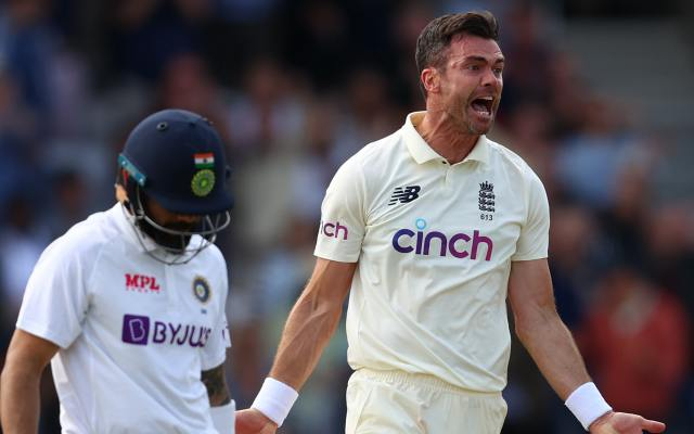 James Anderson celebrates taking the wicket of Virat Kohli