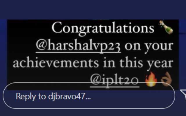 Dwayne Bravo congratulates Harshal Patel