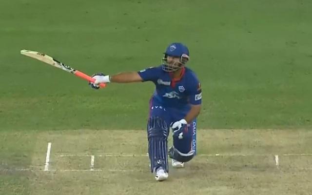 Rishabh Pant hitting a six