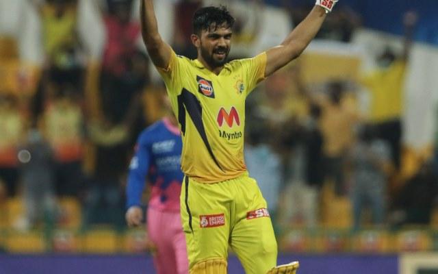 Ruturaj Gaikwad celebrates after scoring a hundred